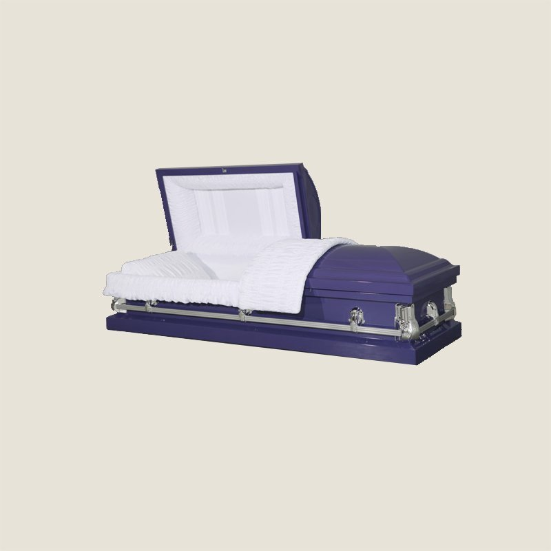 20 Gauge Non-Gasketed White Crepe Purple Casket
