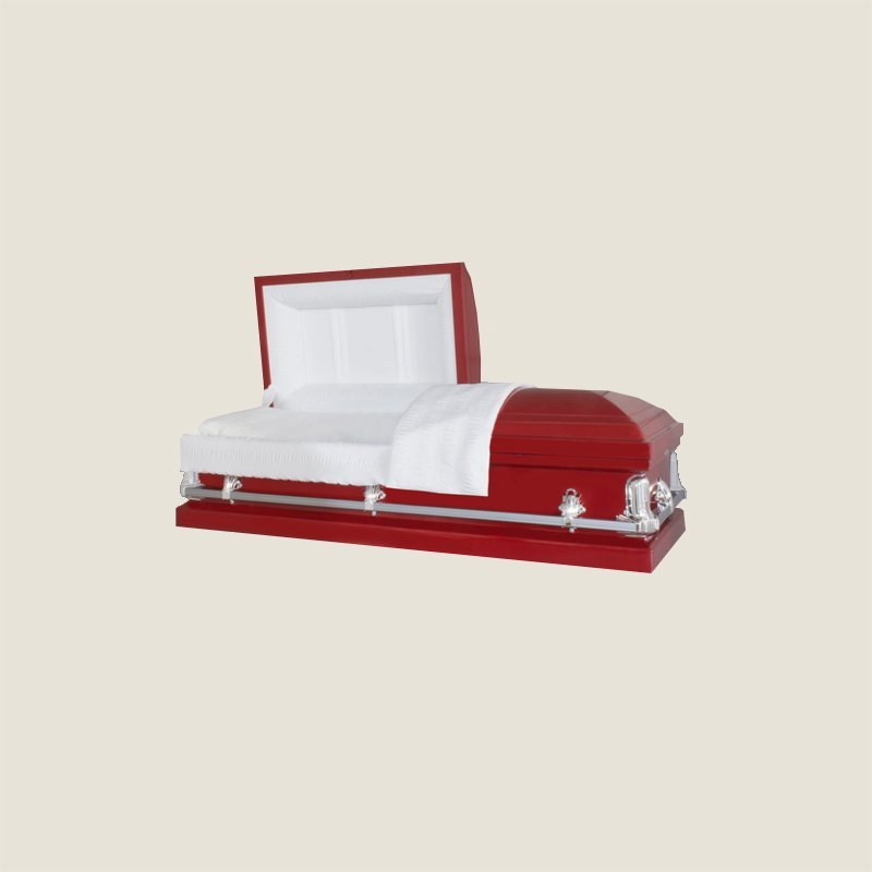 20 Gauge Non-Gasketed White Crepe Red Casket