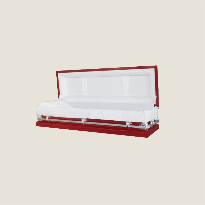 20 Gauge Non-Gasketed Full Couch White Crepe Red Casket