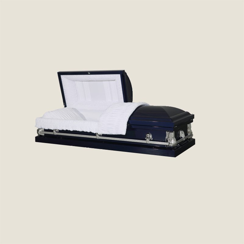 20 Gauge Non-Gasketed White Crepe Royal Blue Casket