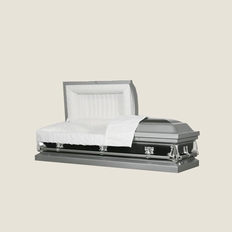 20 Gauge Non-Gasketed Half Couch Ebony Silver Casket