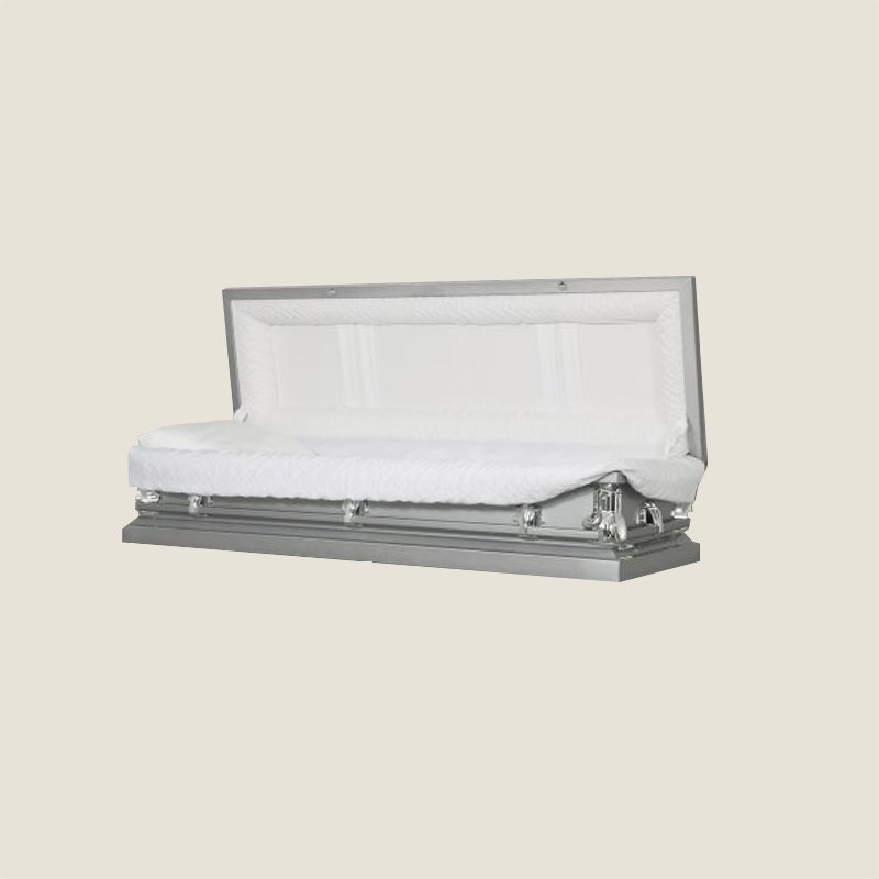 20 Gauge Non-Gasketed White Crepe Silver Casket