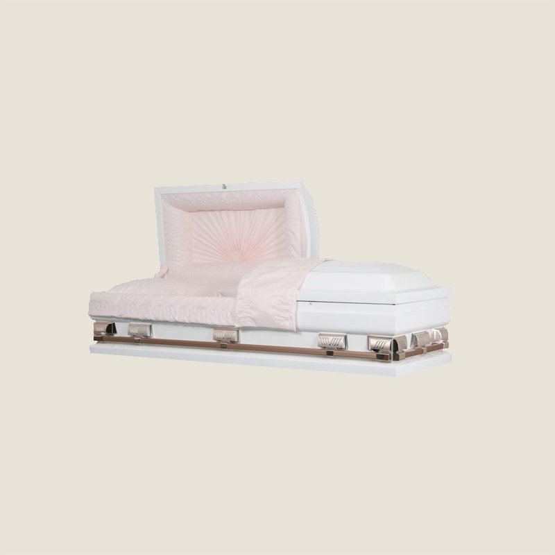 20 Gauge Non-Gasketed Half Couch White Crepe Pink Casket