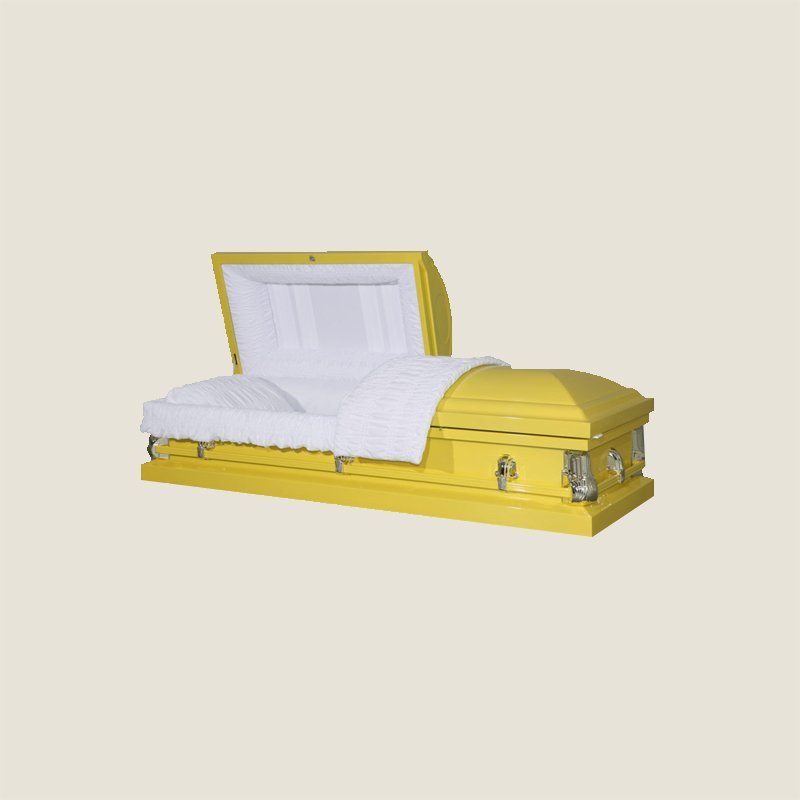 20 Gauge Non-Gasketed White Crepe Yellow Casket