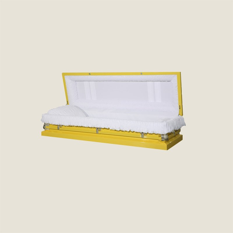 20 Gauge Non-Gasketed Full Couch White Crepe Yellow Casket