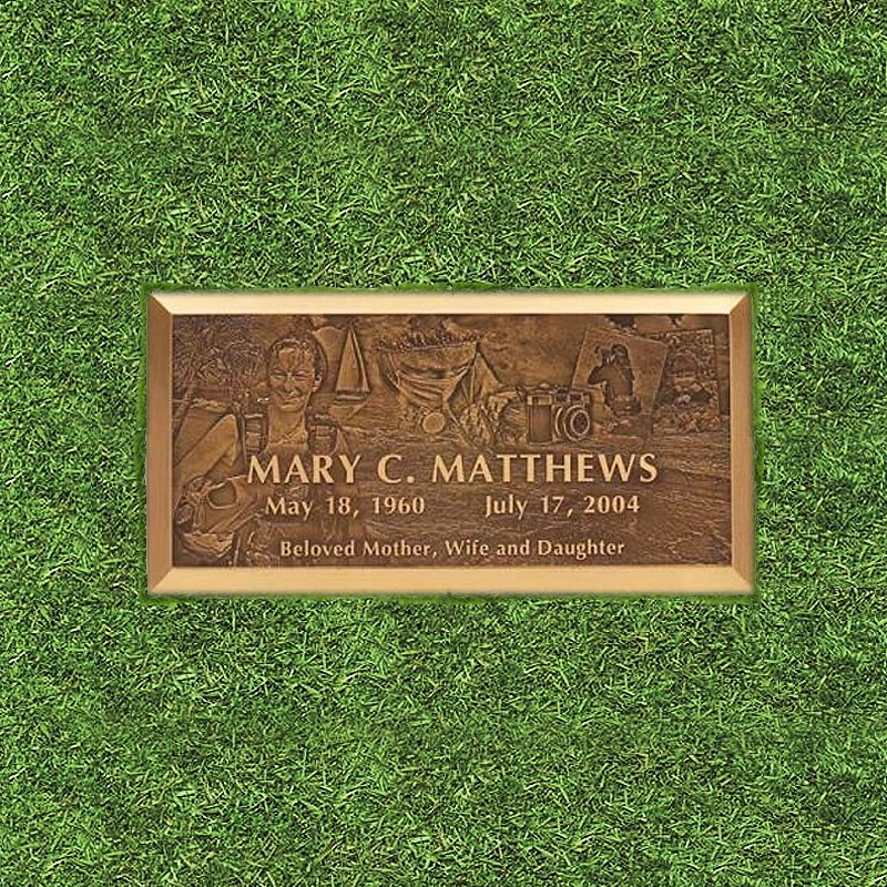Bronze Engraved Grass Marker
