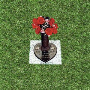 Bronze Engraved Heart Shaped Grass Marker