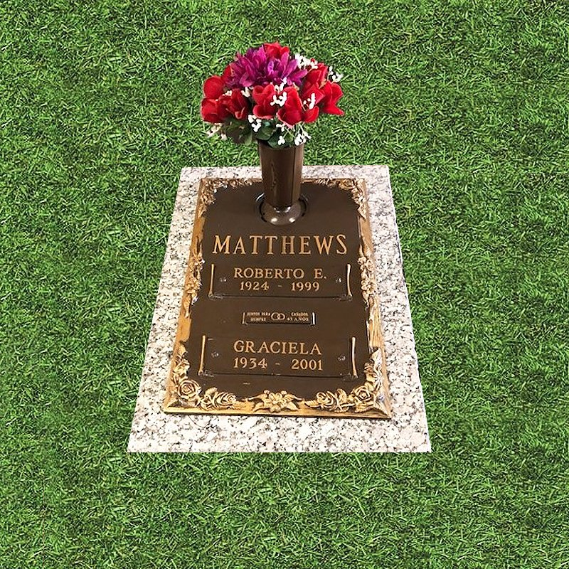 Bronze Marker With Flowers