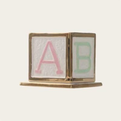 Infant Block Ceramic with 24k Gold Plating Urn