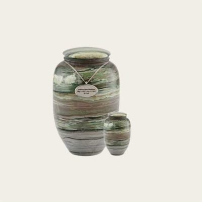 Natural stone Forest Haze Solid Marble Urn