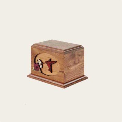 Elegant Wood Hummingbird 3D Walnut Urn