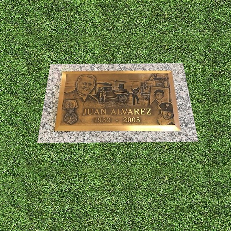Photo Engraved Bronze Marker With Flowers