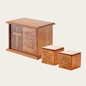 Elegant Wood Prestwick Engraved Cherry Urn