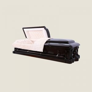 Solid Dark Mahogany Half Couch Ivory Velvet Casket