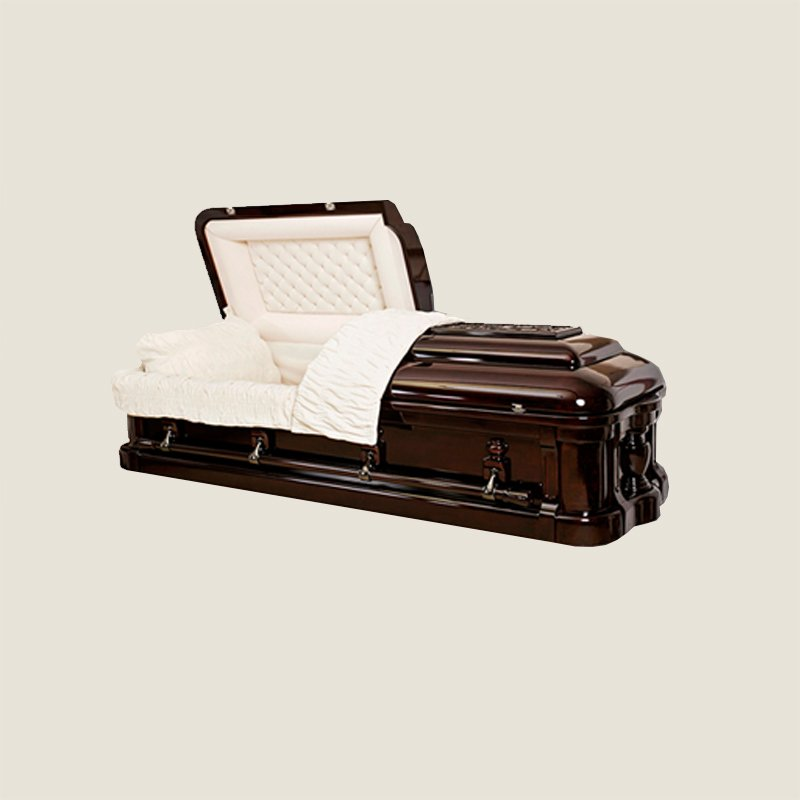 Solid Mahogany Ivory Velvet Half Couch Casket