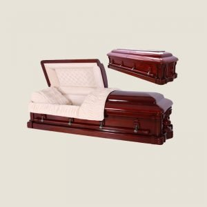 Solid Mahogany Half Couch Ivory Velvet Casket