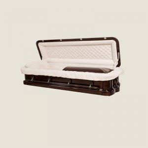 Solid Mahogany Ivory Velvet Full Couch Casket
