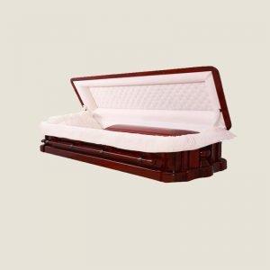Solid Mahogany Almond Ivory Velvet Full Couch Casket