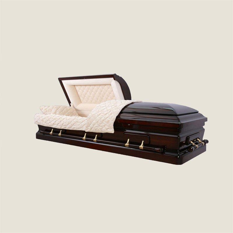 Solid Poplar Ivory Velvet Gold Half Couch Casket