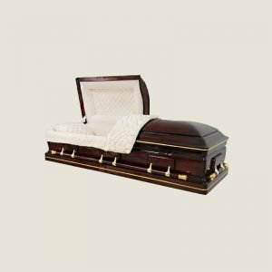 Solid Poplar Half Couch Ivory Velvet Gold Stripe Casket