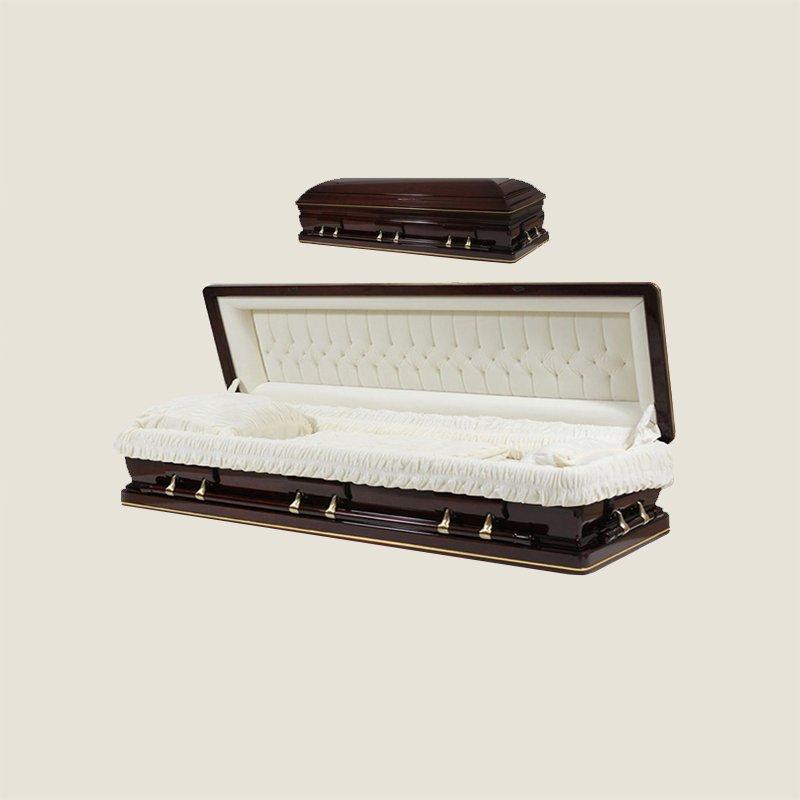 Solid Poplar Full Couch Ivory Velvet Gold Stripe Casket