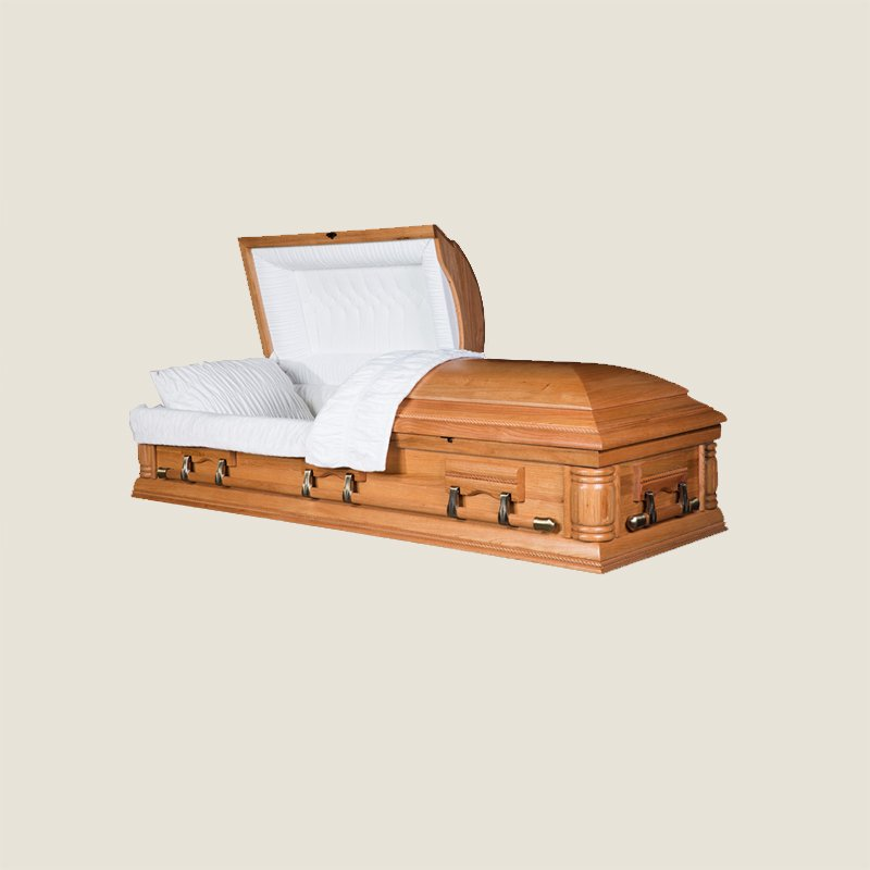 Solid Poplar Oak Half Couch Ivory Velvet Casket