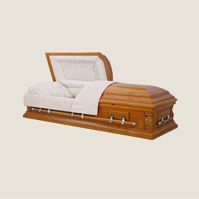 Solid Poplar Oak Half Couch Silver Casket