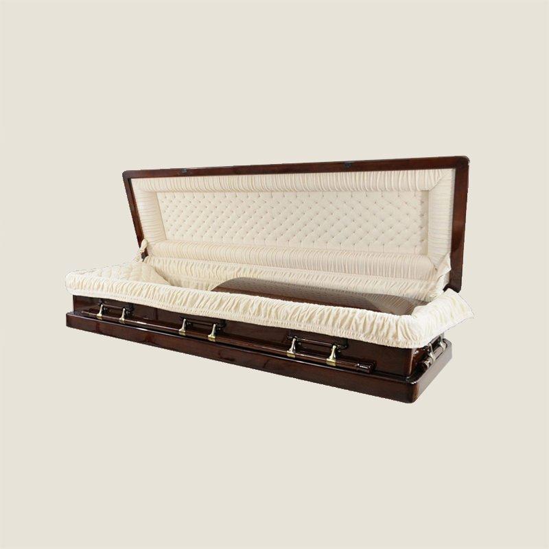Solid Poplar Full Couch Ivory Velvet Gold Casket