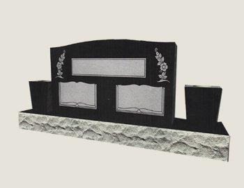 Companion With Vase In Composite Granite In Black Veil