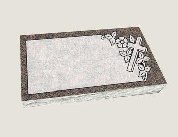Single Flat Marker Composite Granite in Everlasting Mahogany