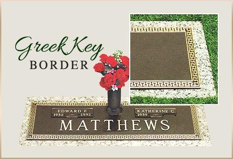 Bronze Grass Marker Greek Key Border