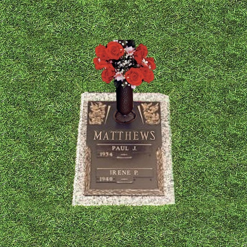 Bronze Grass Marker With Red Flower Vase