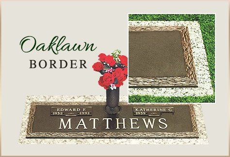 Bronze Grass Marker Oaklawn Border